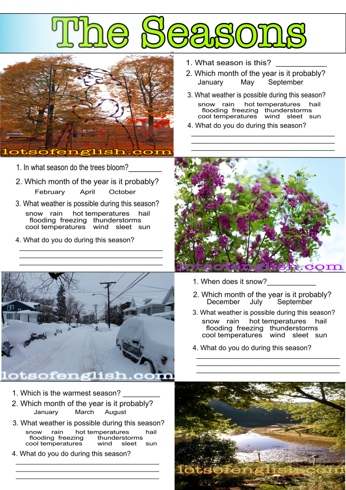 The Seasons - Worksheet (Image)